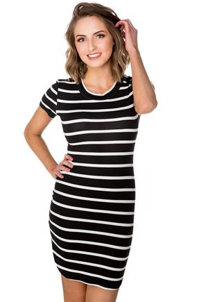 Stripe Short Sleeve Dress with Shirttail Hem