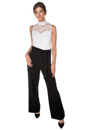Lace Top Sleeveless Wide Leg Jumpsuit with Tie-Belt