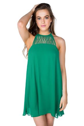 Chiffon Shift Dress with Lattice Neckline
