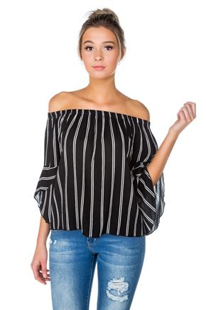 Stripe Off-the-Shoulder Blouse with Bell Sleeves