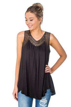 Sleeveless Tunic with Crochet Trim