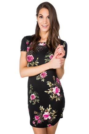 Floral Short Sleeve Bodycon Dress with Shirttail Hem