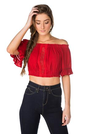 60acf71b866 Off-the-Shoulder Crop Top with Crochet Lace Insert
