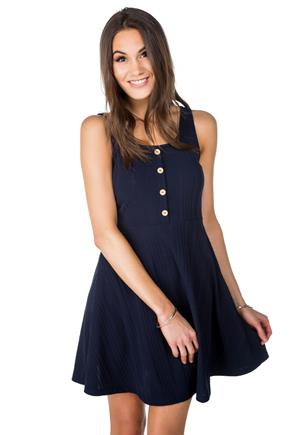 Variegated Ribbed Sleeveless Skater Dress