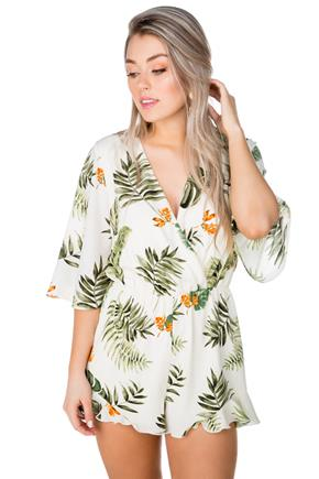 Tropical Crossover Romper with Ruffle Hem