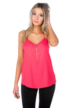 Spaghetti Strap Cami with Zipper