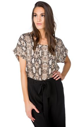 Animal Print Short Sleeve Blouse