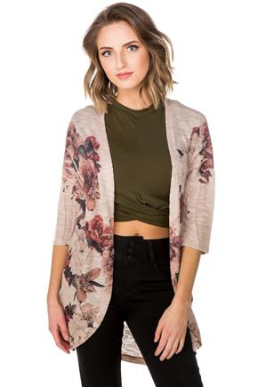 Floral Sublimation Cocoon Cardigan