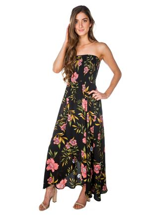 Tropical Floral Strapless Maxi Dress