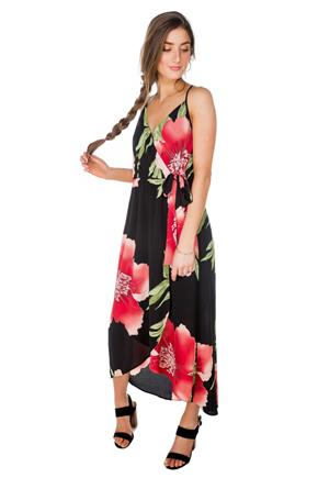 Hibiscus Print Wrap Maxi Dress