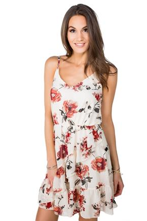 Floral Spaghetti Strap Dress with Ruffle Detail