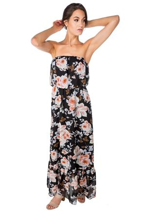Floral Strapless Maxi Dress with Ruffle Bottom