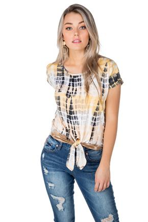 Tie-Dye Cold Shoulder Tee with Tie-Front