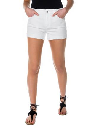 Celebrity Pink White Mid-Rise Short with Frayed Turn-Up Cuff