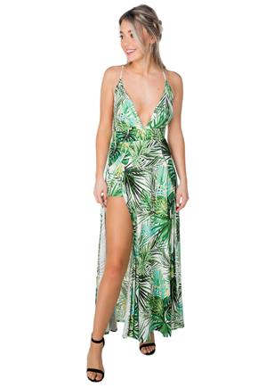 Tropical Dress with High Slits