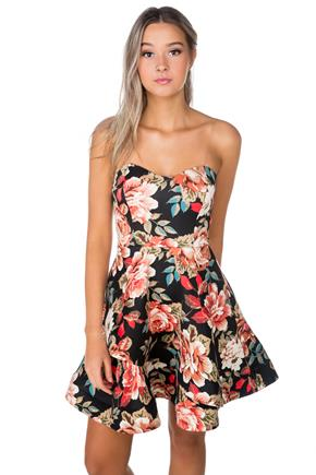 Black Floral Skater Dress with Clear Spaghetti Straps