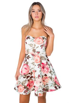 Pink Floral Skater Dress with Clear Spaghetti Straps