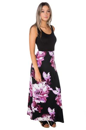 Floral Maxi Dress with Crossover Back