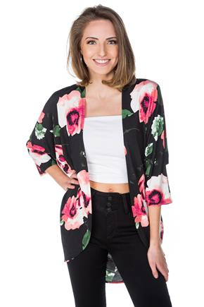 Floral 3/4 Sleeve Cocoon Cardigan