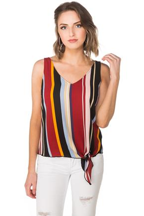 Stripe Double V Cami with Side-Tie