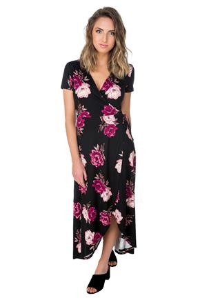 Rose Print Cap Sleeve Crossover Dress