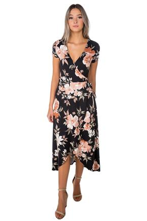 Floral Cap Sleeve Maxi Dress