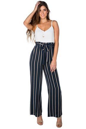 Stripe Navy Paperbag Jumpsuit with Tie-Belt