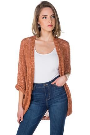 Slub Open Knit Cocoon Cardigan
