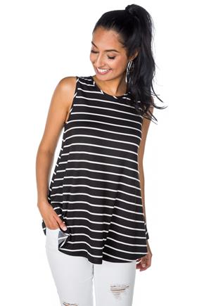 Stripe Sleeveless Swing Tunic