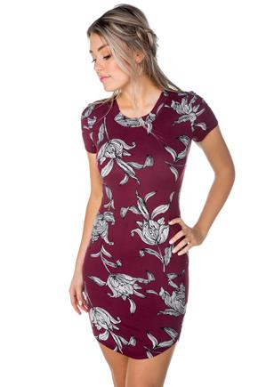 Floral Short Sleeve Dress with Shirttail Hem