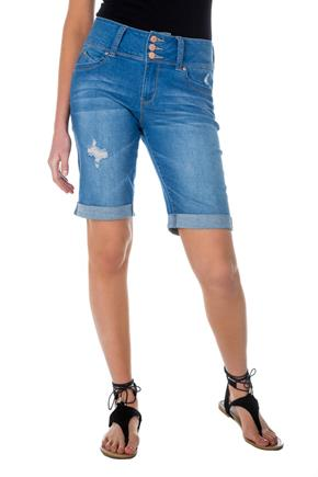 Tattoo 'Jorja' Medium Wash Mid-Rise Push-Up Cuffed Bermuda Short