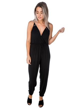 b61e3e490904 Lace Top Mock Neck Jumpsuit with Tie-Belt. $59.99. Color Black. Crossover  Spaghetti Strap Jumpsuit