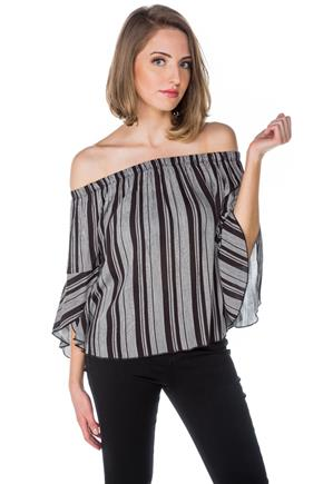 Black Stripe Off-the-Shoulder Top with Bell Sleeves