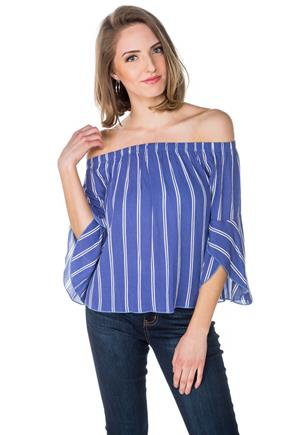 Blue Stripe Off-the-Shoulder Top with Bell Sleeves