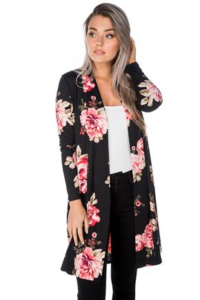 Long Floral Open Cardigan