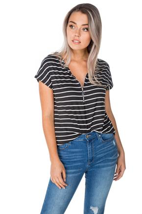 Striped Top with Front Zipper