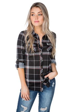 Plaid Shirt with Roll-Up Sleeves