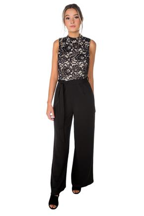 7507b8540fef Lace Top Mock Neck Jumpsuit with Tie-Belt