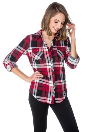 Red and Black Plaid Shirt with Roll-Up Sleeves