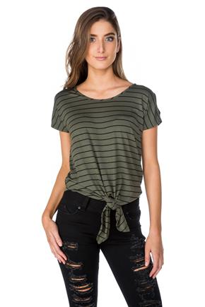 Stripe Cold Shoulder Top with Tie-Front