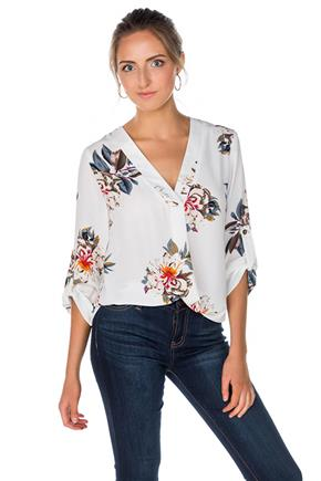 Floral Tunic with Roll-Up Sleeves