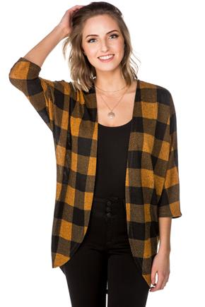 Buffalo Plaid Cocoon Cardigan