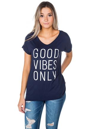 """Good Vibes Only"" Graphic V-Neck with Cap Sleeves"