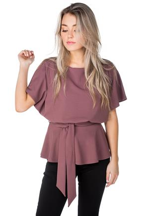 Batwing Peplum Top with Tie-Belt