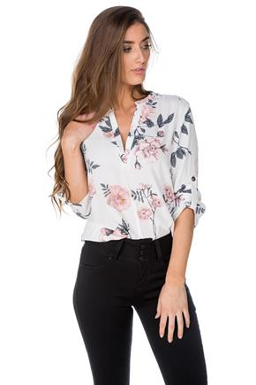 Floral Half Placket Blouse with Roll-Up Sleeves