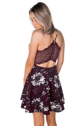 Burgundy Floral Skater Dress with Lace Zipper Back