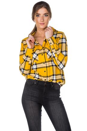 Katie Plaid Hooded Flannel Shirt