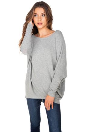 French Terry Long Sleeve Dolman Top