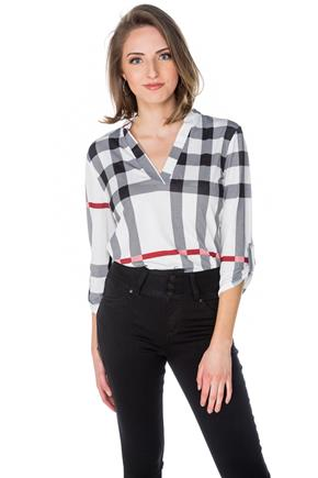 Plaid Half-Placket Blouse