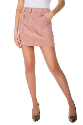 Almost Famous Corduroy Skirt with Front Zipper